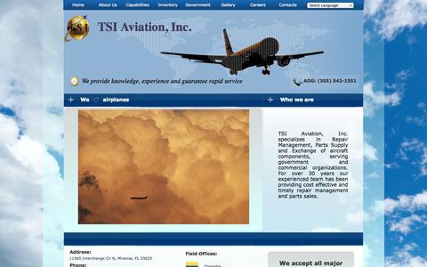 Screenshot of Home Page tsiaviation.com - Home - captured Oct. 6, 2014