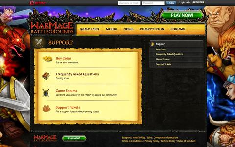 Screenshot of Support Page warmagebattlegrounds.com - Multiplayer Turn Based Tactical Combat Strategy Game | WarMage Battlegrounds | Support - captured Sept. 12, 2014