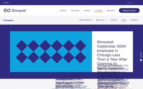 Screenshot of Press Page showpad.com - News Archive – Showpad - captured Sept. 19, 2018
