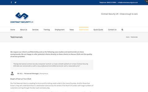Screenshot of Testimonials Page contractsecurityuk.co.uk - Contract Security – Security for your business -   Testimonials - captured Nov. 11, 2016