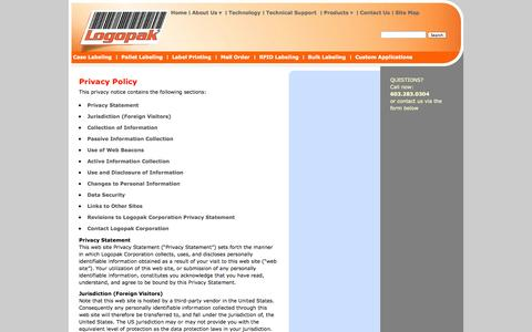 Screenshot of Privacy Page logopakcorp.com - Privacy Policy | logopakcorp.com - captured Oct. 3, 2014