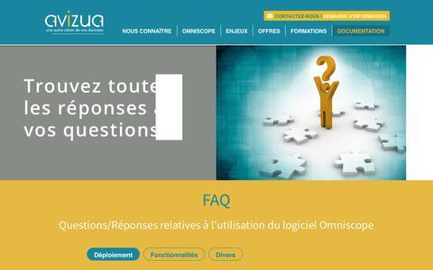 Screenshot of FAQ Page avizua-logiciel-analyse-donnees.com - FAQ - captured Oct. 2, 2018