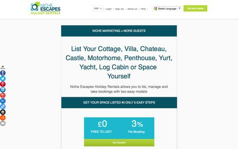 Screenshot of Pricing Page nicheescapes.com - Niche Escapes | Properties - captured Feb. 14, 2016
