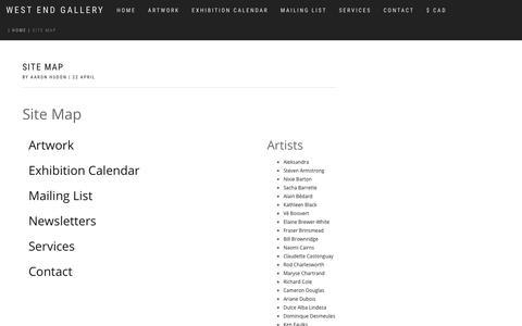 Screenshot of Site Map Page westendgalleryltd.com - Site Map - captured Oct. 20, 2018