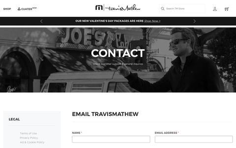 Screenshot of Contact Page travismathew.com - Contact   Customer Service & General Inquiries   TravisMathew Apparel - captured Jan. 26, 2020
