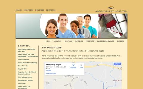 Screenshot of Maps & Directions Page aspenvalleyhospital.org - Get Directions - Aspen Valley Hospital - captured July 26, 2016