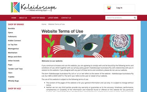Screenshot of Terms Page kaleidoscope.com.au - Website Terms of Use - captured Oct. 14, 2018