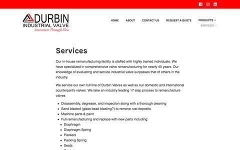 Screenshot of Services Page durbinvalve.com - Services – Durbin Industrial Valve Inc. - captured Oct. 13, 2017