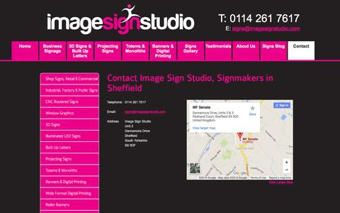 Screenshot of Contact Page imagesignstudio.com - Contact Image Sign Studio, Shop Signs, Custom Business Signs Sheffield - captured July 20, 2016