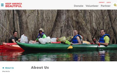 Screenshot of About Page kab.org - About Us | Keep America Beautiful - captured Feb. 12, 2016