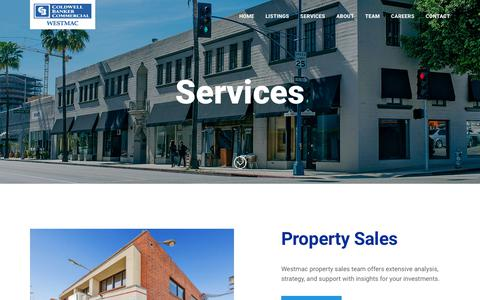 Screenshot of Services Page westmac.com - Commercial Real Estate Services - Coldwell Banker Commercial WESTMACColdwell Banker Commercial WESTMAC - captured Sept. 28, 2018