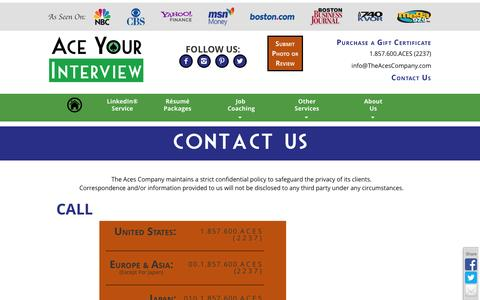Screenshot of Contact Page aceyourinterview.com - Contact Us - Ace Your Interview - captured Sept. 30, 2014