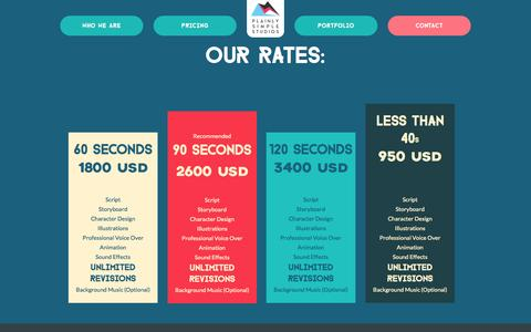 Screenshot of Pricing Page plainlysimplestudios.com - Pricing | Affordable Explainer Videos starting at $1800 - captured July 22, 2015
