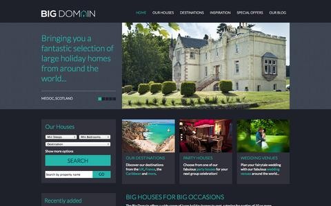 Screenshot of Home Page thebigdomain.com - Large Houses, Holiday Homes & Big Group Accommodation - captured Sept. 30, 2014