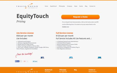 Screenshot of Pricing Page touchahead.com - EquityTouch Pricing - captured Oct. 9, 2014