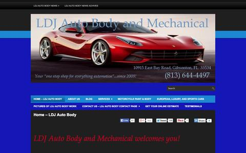Screenshot of Home Page ldjautobody.com - LDJ Auto Body & Mechanical | We are a full service auto body repair and automotive paint shop serving Apollo Beach, Brandon, Gibsonton, Riverview, and Tampa, Florida. - captured Oct. 1, 2014