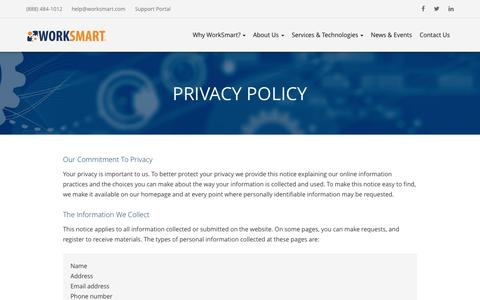 Privacy Policy - Raleigh, Durham, Charlotte | WorkSmart
