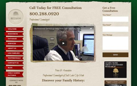Screenshot of Home Page pricegen.com - Professional Genealogist & Family Historian | Price & Associates - captured Nov. 9, 2016