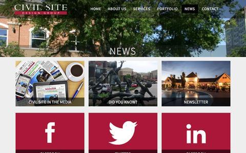 Screenshot of Press Page civil-site.com - News - Civil Site Design Group - captured Jan. 28, 2016