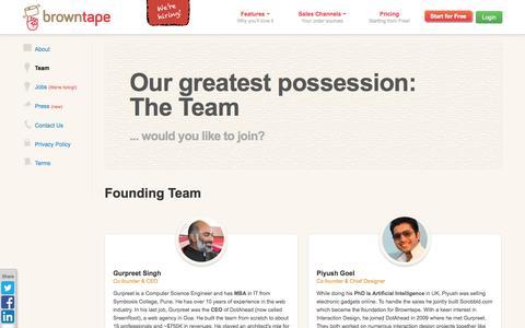 Screenshot of Team Page browntape.com - Browntape.com | Team - captured Sept. 13, 2014