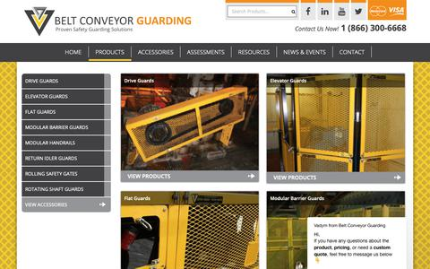 Screenshot of Products Page conveyorguarding.com - Safety Guarding Products - Belt Conveyor Guarding - captured Oct. 5, 2018