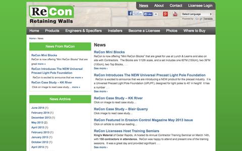 Screenshot of Press Page reconwalls.com - Big Block Retaining Wall New and Information | - captured Oct. 7, 2014