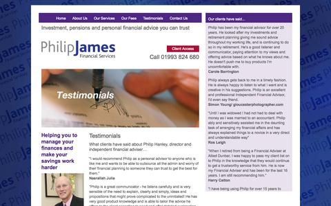 Screenshot of Testimonials Page pjamesfs.com - Philip James Financial Services - captured Oct. 2, 2014