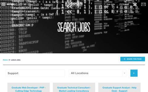 Screenshot of Support Page itgraduaterecruitment.com - Vacancies | Latest IT Graduate Jobs  - Support - captured Aug. 5, 2016