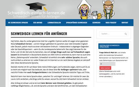 Screenshot of Home Page schwedisch-einfach-lernen.de - Schwedisch lernen für Anfänger - captured June 4, 2016
