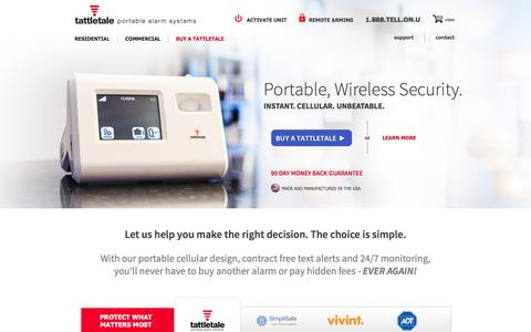Screenshot of Home Page tattletale.com - Portable DIY Wireless Alarm Systems for Apartments, Small Business, Homes, Dorms | tattletale - captured Feb. 27, 2016