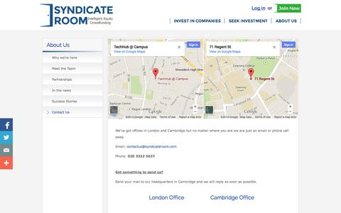 Screenshot of Contact Page syndicateroom.com - Contact Us - captured Sept. 23, 2014