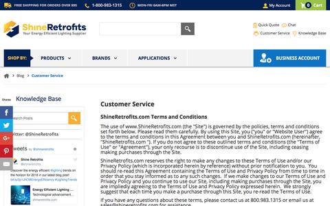 Screenshot of Support Page shineretrofits.com - Customer Service   Shine Retrofits Lighting Blog - captured Dec. 23, 2017