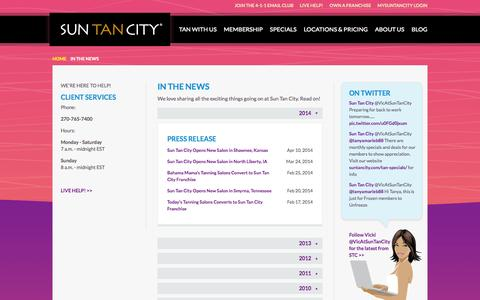 Screenshot of Press Page suntancity.com - Sun Tan City in News Articles and Press Releases - captured Sept. 23, 2014
