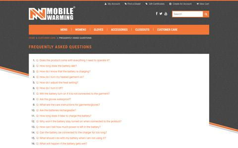 Screenshot of FAQ Page mobilewarminggear.com - Frequently Asked Questions - captured Oct. 26, 2014
