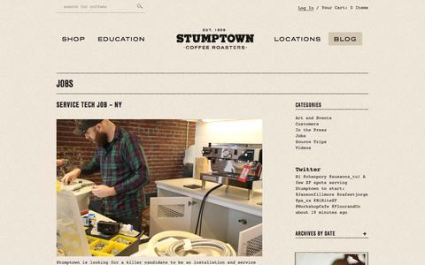Screenshot of Jobs Page stumptowncoffee.com - Jobs Archives - Stumptown Coffee Roasters - captured Sept. 24, 2014
