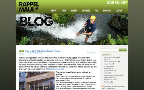 Screenshot of Blog rappelmaui.com - Rappel Maui | Rappelling and Canyoneering Tour in Private Maui Rainforest Valley - captured Nov. 12, 2017