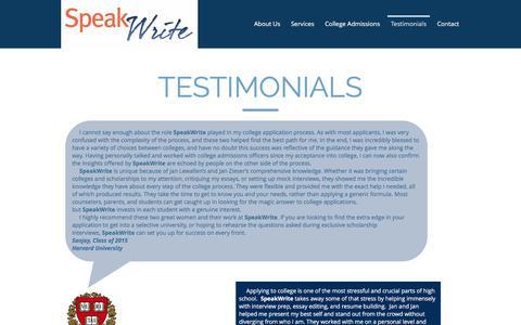 Screenshot of Testimonials Page speakwritellc.com - speakwrite | Testimonials - captured Oct. 23, 2017
