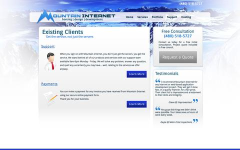 Screenshot of Support Page mountaininternet.com - Support for existing clients of Phoenix Arizona web design company Mountain Internet - captured Feb. 28, 2016