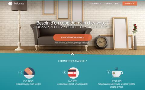 Screenshot of Home Page recowin.com - Services à domicile, services à la personne et petits travaux en trois clics | hellocasa.fr - captured Sept. 30, 2014