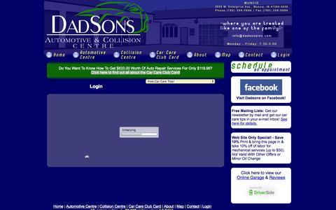 Screenshot of Login Page dadsonsinc.com - Login | Dadsons Automotive & Collision Centre [Muncie, Indiana] - captured Oct. 5, 2014