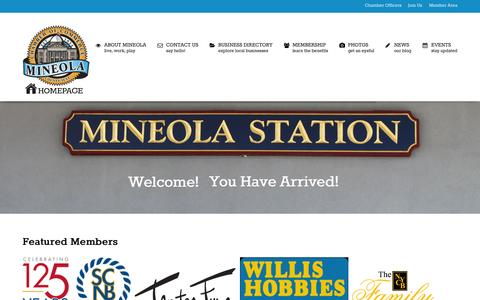 Screenshot of Home Page mineolachamber.com - Mineola Chamber of Commerce - captured Sept. 3, 2015