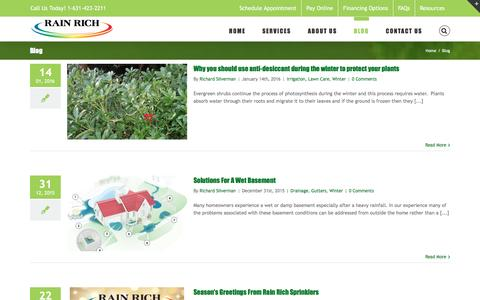 Screenshot of Blog rainrich.com - Blog - Long Island Lawn care and Landscape Maintenance Tips - captured Jan. 25, 2016