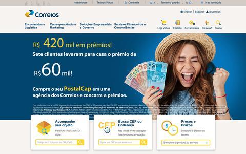 Screenshot of Home Page correios.com.br - Correios: encomendas, rastreamento, telegramas, cep, cartas, selos, agências e mais! - captured Dec. 8, 2018