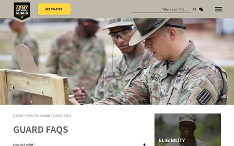 Screenshot of FAQ Page nationalguard.com - Army National Guard - captured March 26, 2019