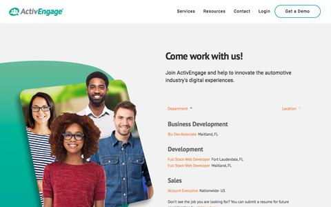Screenshot of Jobs Page activengage.com - Work With Us - ActivEngage - captured Nov. 9, 2019