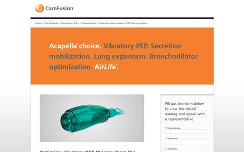 Screenshot of Landing Page carefusion.com - Acapella choice vibratory PEP therapy system | BD - captured Oct. 29, 2016