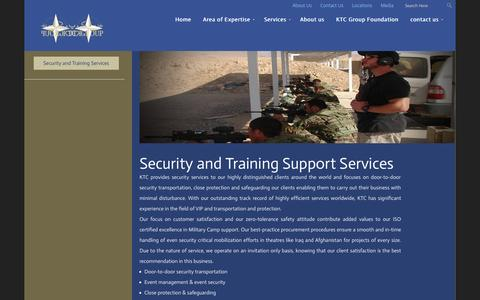 Screenshot of Services Page afktc.com - KTC     Security and Training Support Services - captured Oct. 6, 2014