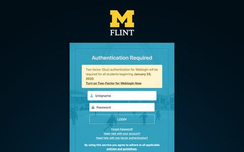 Screenshot of Login Page umflint.edu - Weblogin | University of Michigan-Flint - captured Jan. 12, 2020