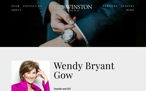 Screenshot of Team Page lilywinston.com - Wendy Bryant Gow — Lily Winston - captured July 20, 2018