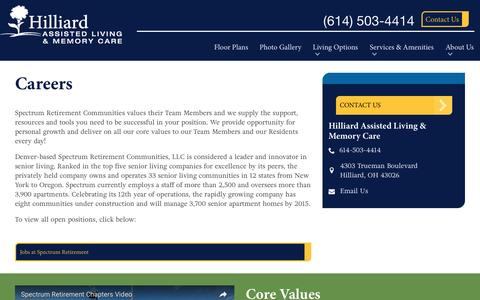 Screenshot of Jobs Page spectrumretirement.com - Careers At Hilliard Assisted Living & Memory Care - captured Jan. 23, 2017